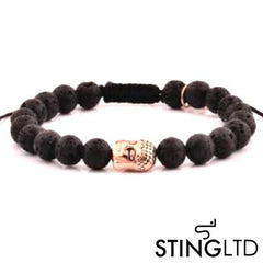 Lava Rock Rose Gold Plated Buddha Stainless Steel Charm Beaded Macrame Bracelet