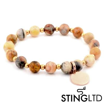 Ocean Jasper with Rose Gold Plated Charm Stainless Steel Beaded Bracelet