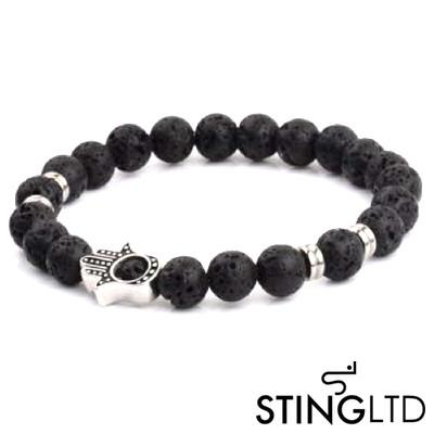 Lava Rock with Hamsa Hand Stainless Steel Beaded Bracelet
