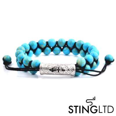 Turquoise Textured Stainless Steel Charm Double Beaded Macrame Bracelet