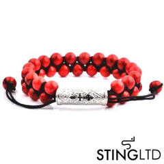 Red Magnesite Textured Stainless Steel Charm Double Beaded Macrame Bracelet