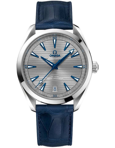 Omega Seamaster Aqua Terra 150m Master Co-Axial Chronometer 41 MM Blue Leather Men's Watch