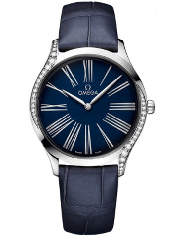 Omega De Ville Tresor 36mm Blue Dial Leather Strap Diamond Women's Watch