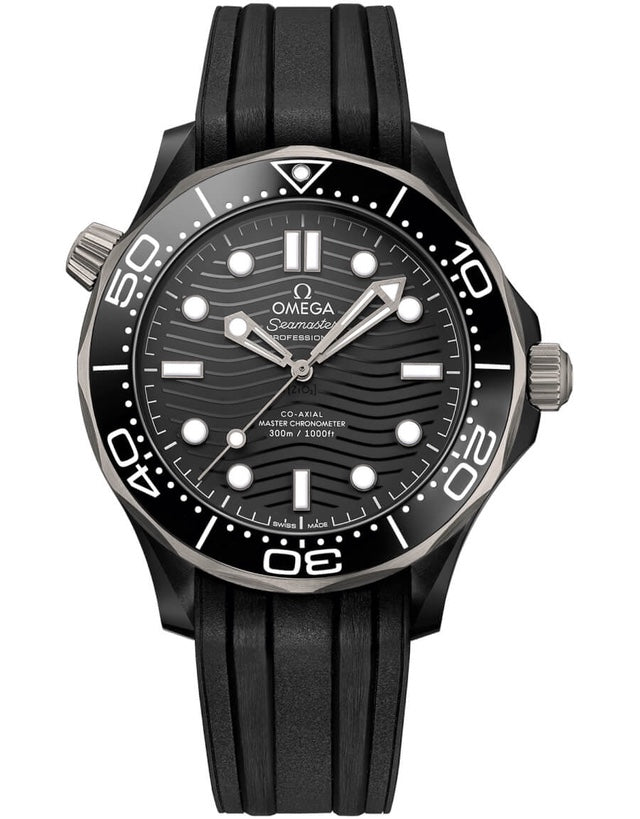 Omega Seamaster Diver 300 M Automatic Titanium Black Ceramic Case Rubber Strap Men's Watch