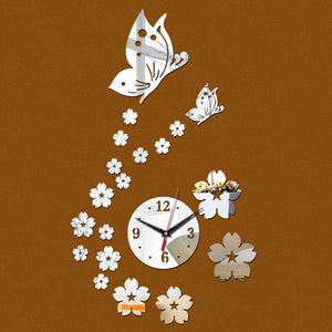 Wall Clock DIY Acrylic Mirror Flower and Butterfly 3d Self Adhesive home decor kitchen US Canada