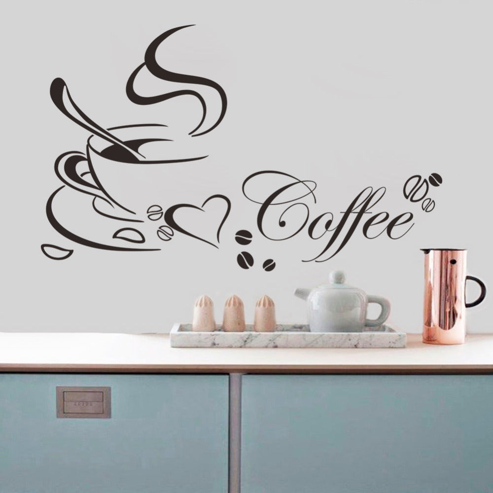 Wall Stickers Coffee Cup With Heart Vinyl Removable Self Adhesive DIY home decor kitchen US Canada