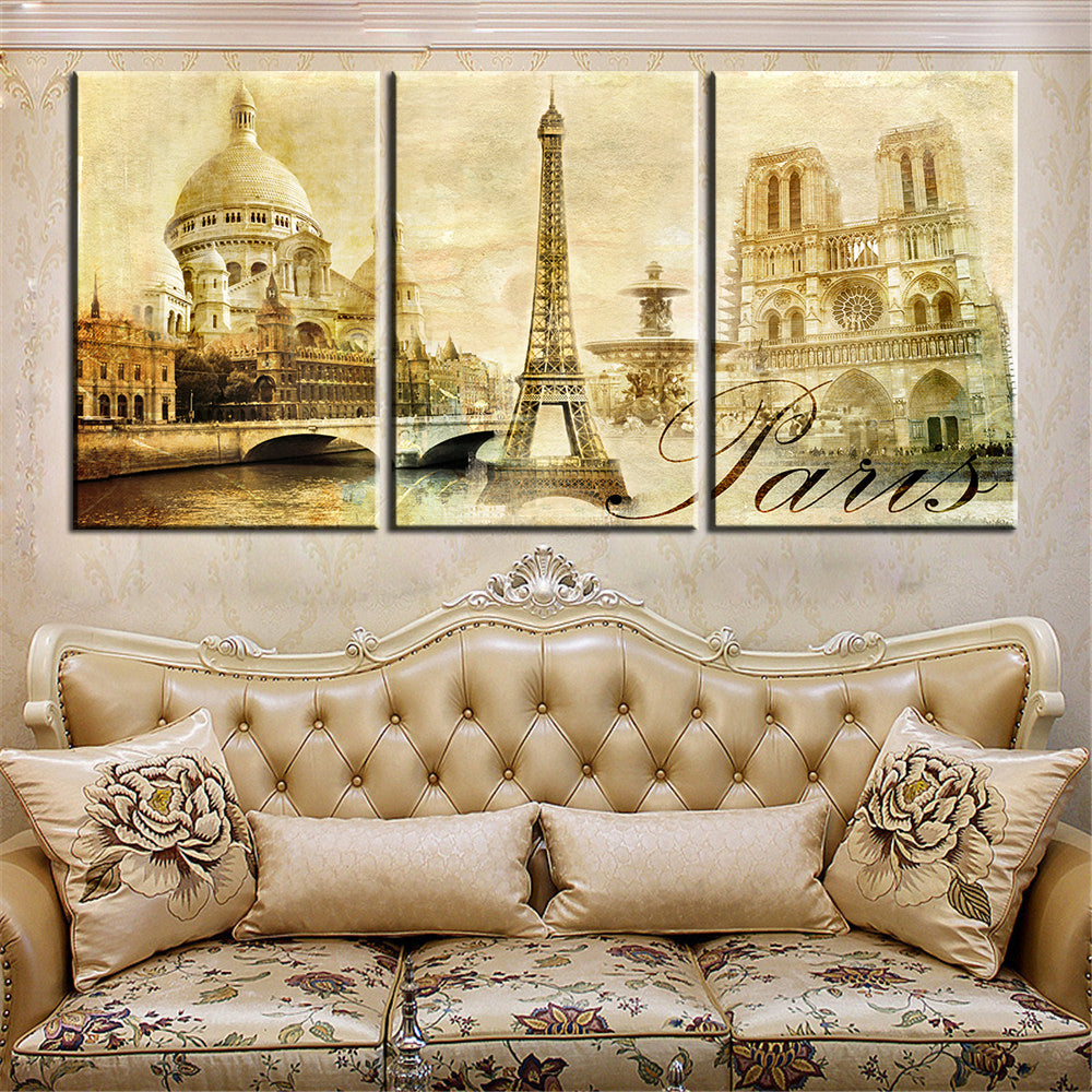 Canvas Print 3 Pieces Love In Paris Modern European Wall Pictures Frameless home decor kitchen US Canada