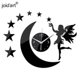 Wall Clock DIY Acrylic Mirror Moon Star Fairy 3d Self Adhesive US CA Canada Australia New zealand