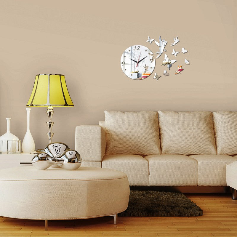 Wall Clock DIY Acrylic Mirror Fairies and Butterflies 3d Self Adhesive home decor kitchen US Canada