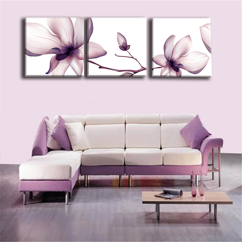 Canvas Prints 3 Pieces Modular Flower Picture Frameless US Canada
