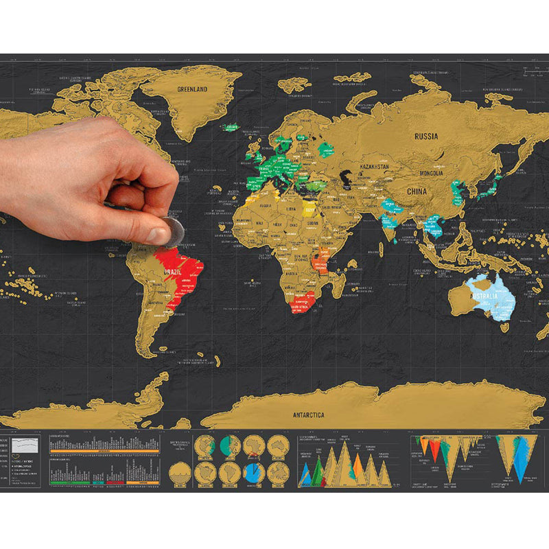 World Map Scratch off Map Personalized Travel Wall Poster US Canada