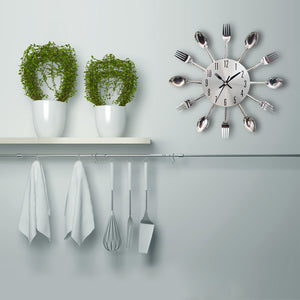 Wall Clock Sliver Cutlery Clocks Spoon Fork home decor kitchen US Canada