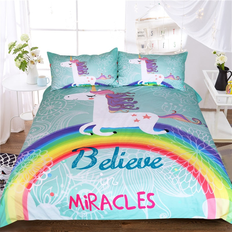 Unicorn Bedding Set Believe in Miracles Duvet Cover US Canada