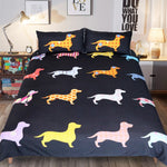 Colorful Puppy Duvet Cover Dachshund Bedding Set US Canada