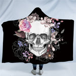 Sugar Skull Flower Hooded Blanket US Canada
