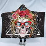 Skull With Glass Floral Hooded Blanket US Canada