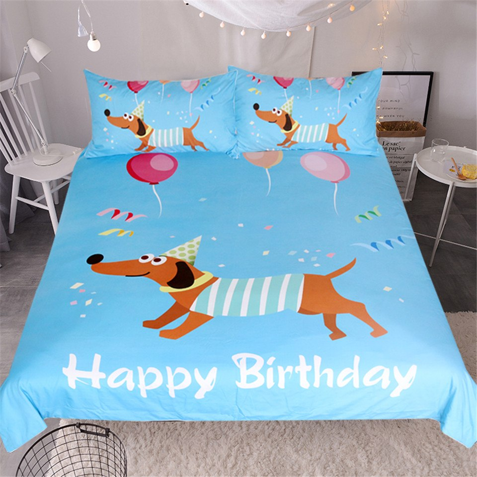 Happy Birthday Duvet Cover Dachshund Bedding Set US Canada