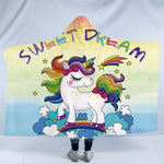 Sweet Dream Rainbow Unicorn Hooded Blanket US Canada