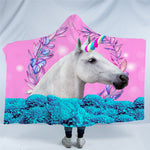 Floral Unicorn Hooded Blanket US Canada