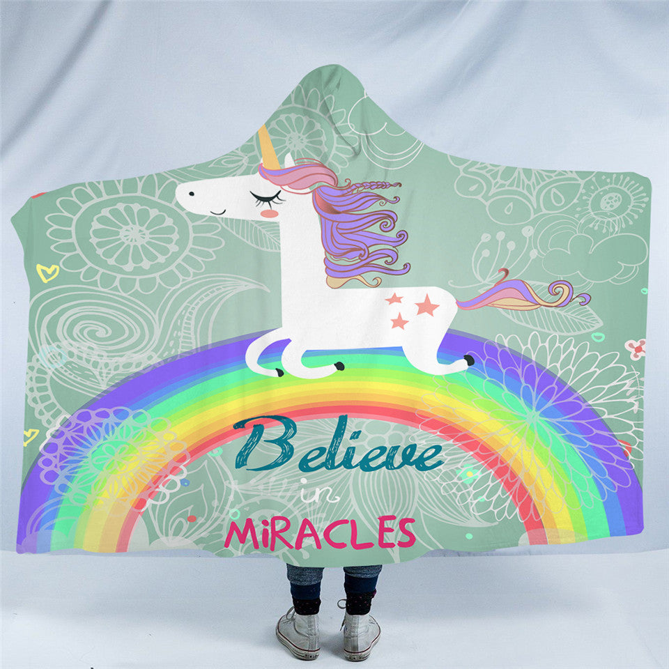 Believe in Miracles Unicorn Rainbow Hooded Blanket US Canada