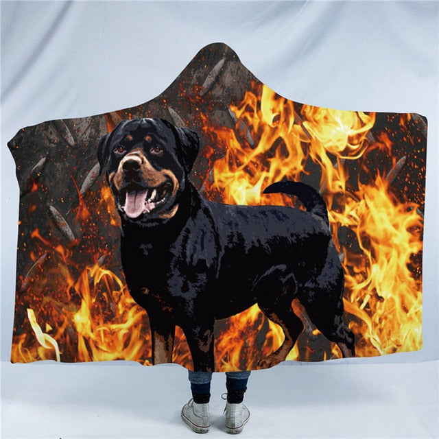Flaming Rottweiler Dog Collection Hooded Blanket US Canada