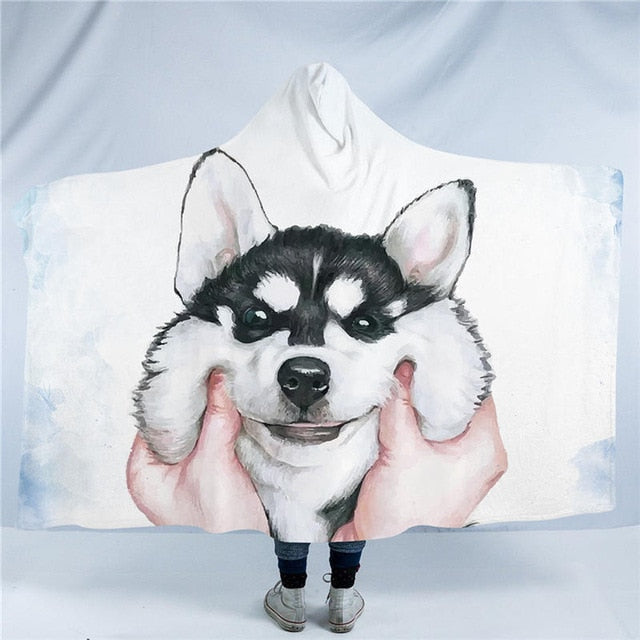 Cute Husky Dog Collection Hooded Blanket US Canada