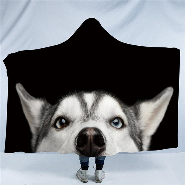 Pipping Husky Dog Collection Hooded Blanket US Canada