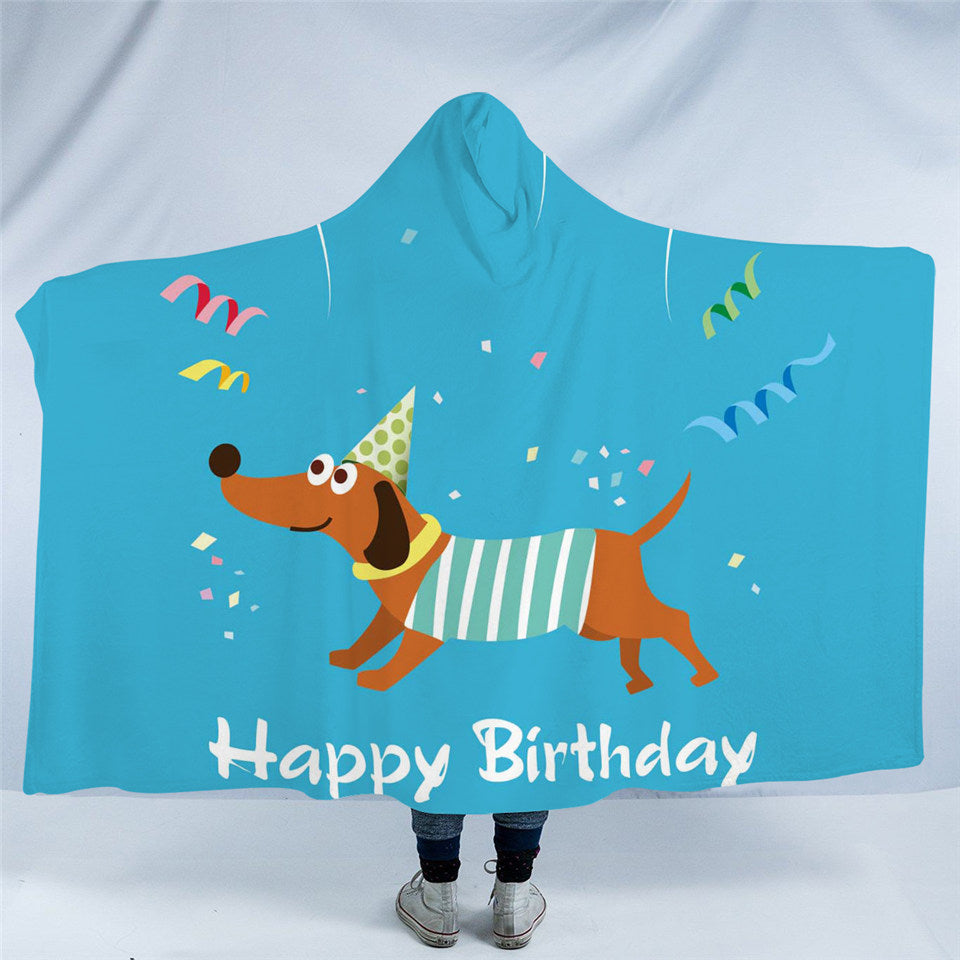 Happy Birthday Dachshund Hooded Blanket US Canada