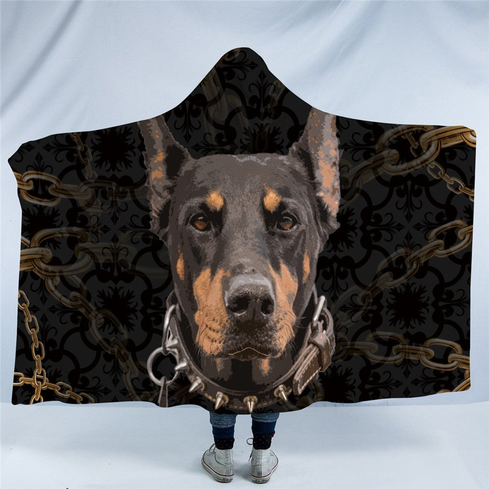 Doberman Dog Collection Hooded Blanket US Canada