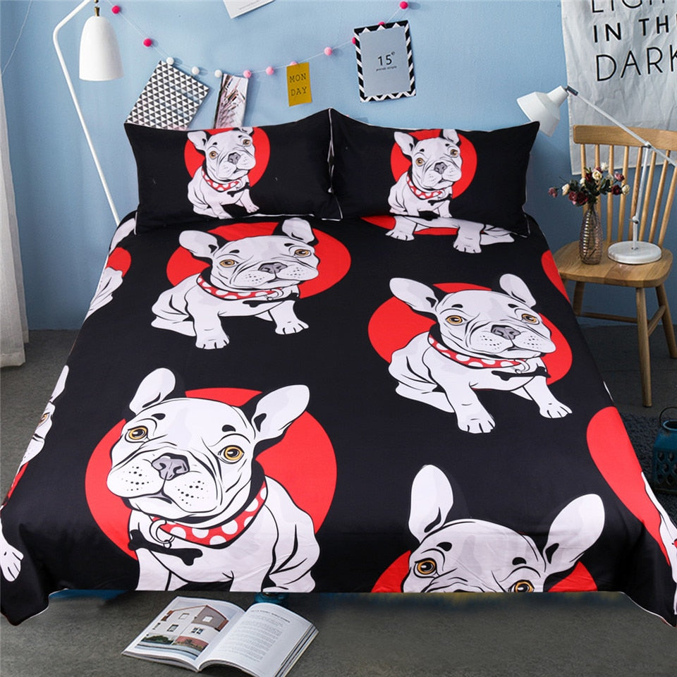 Cartoon Bulldog Duvet Cover Bedding Set US Canada
