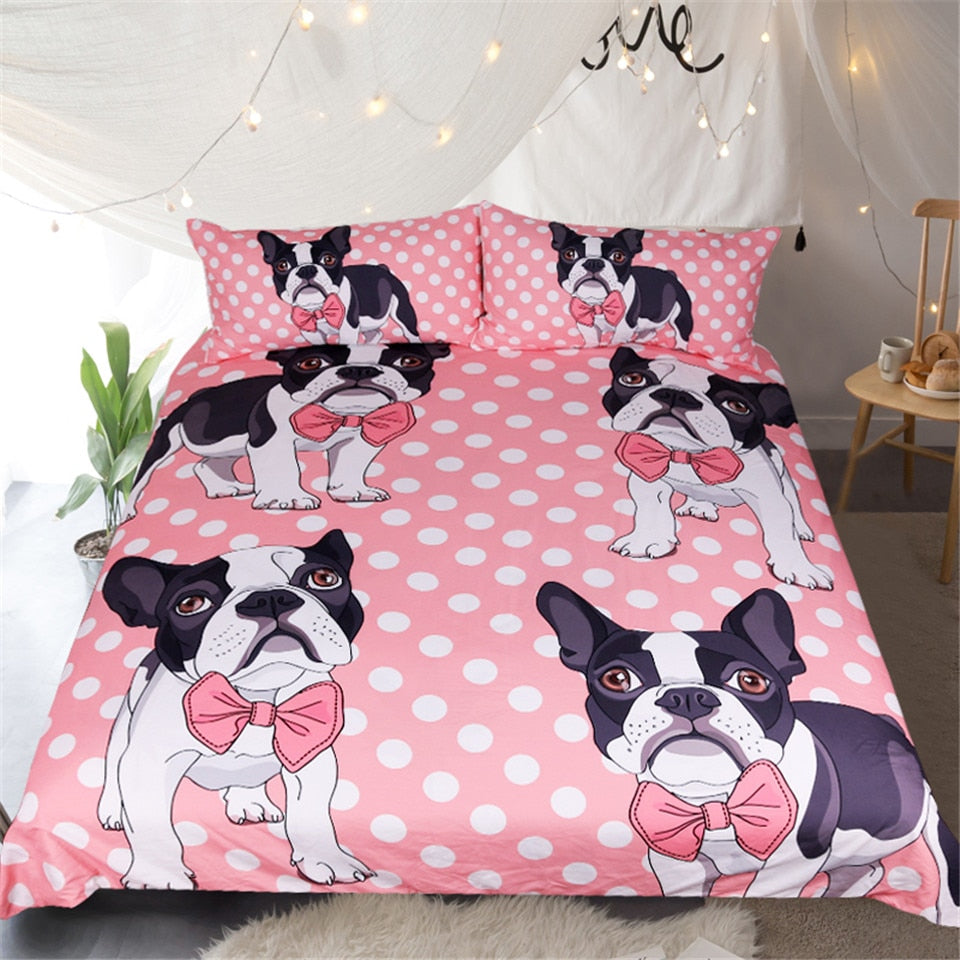 Pink Bow Tie Bulldog Duvet Cover Bedding Set US Canada