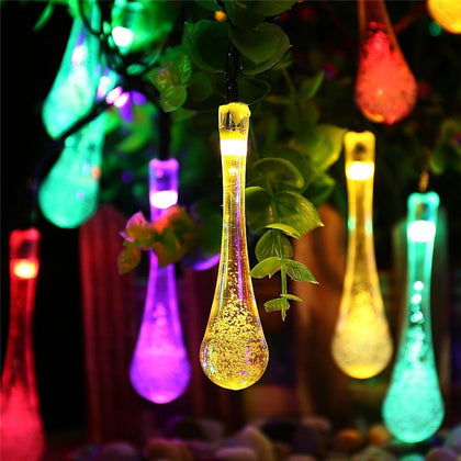 6M 30pcs LED Solar Christmas Lights Water Drop Fairy String Lights