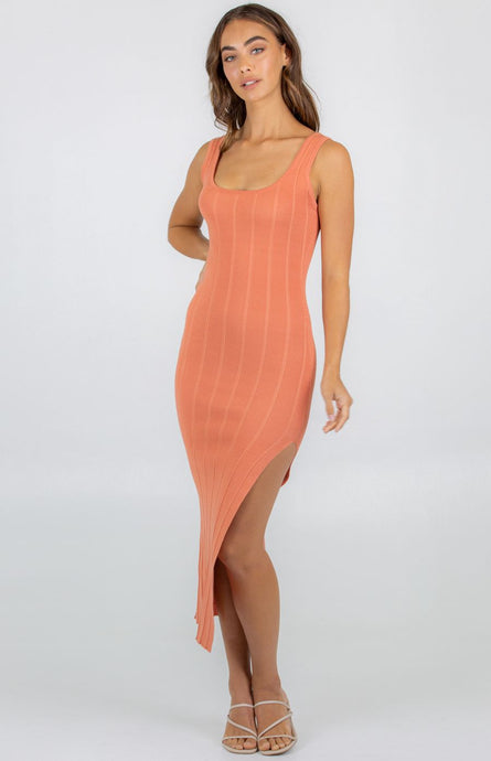 Wide Rib Textured Knit Dress With Side Split - Coral