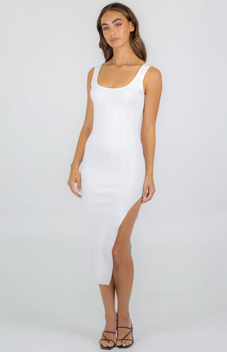 Wide Rib Textured Knit Dress With Side Split - White