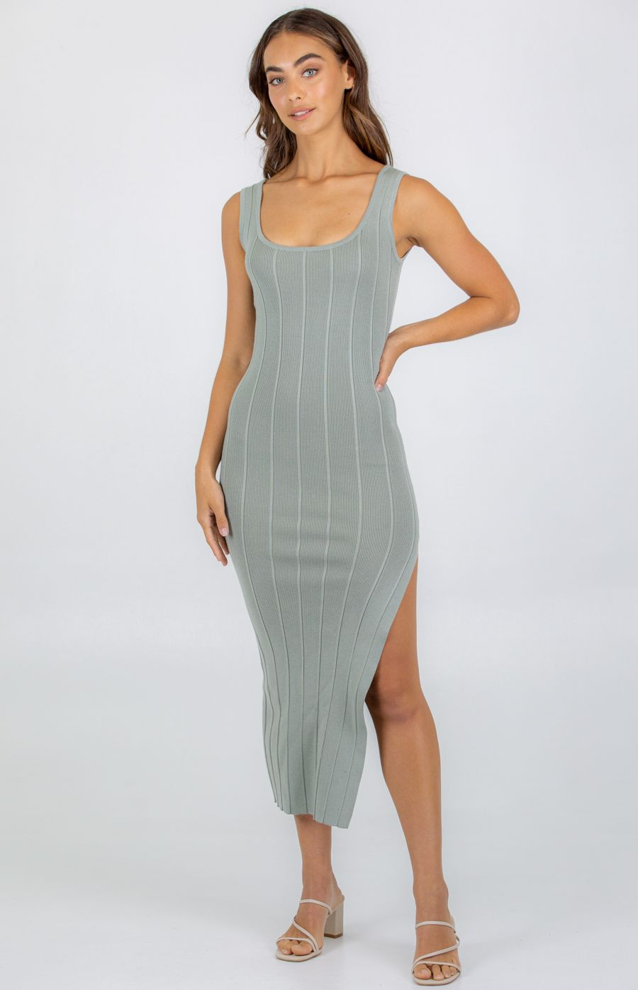 Wide Rib Textured Knit Dress With Side Split - Sage