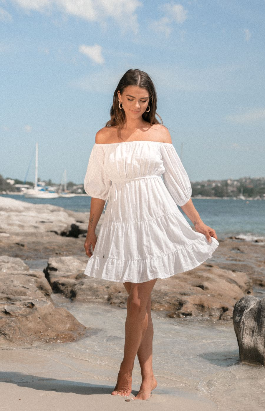 Cotton Off The Shoulder Baby Doll Dress - White