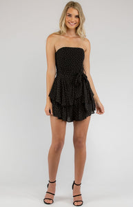 Dot Printed Playsuit With Ruffle Hem Detail