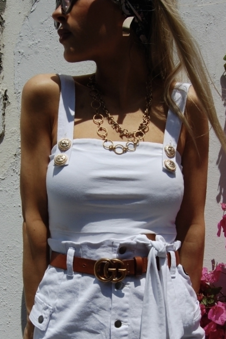 White Military Style Crop