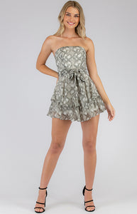 Snake Print Playsuit With Ruffle Hem Detail