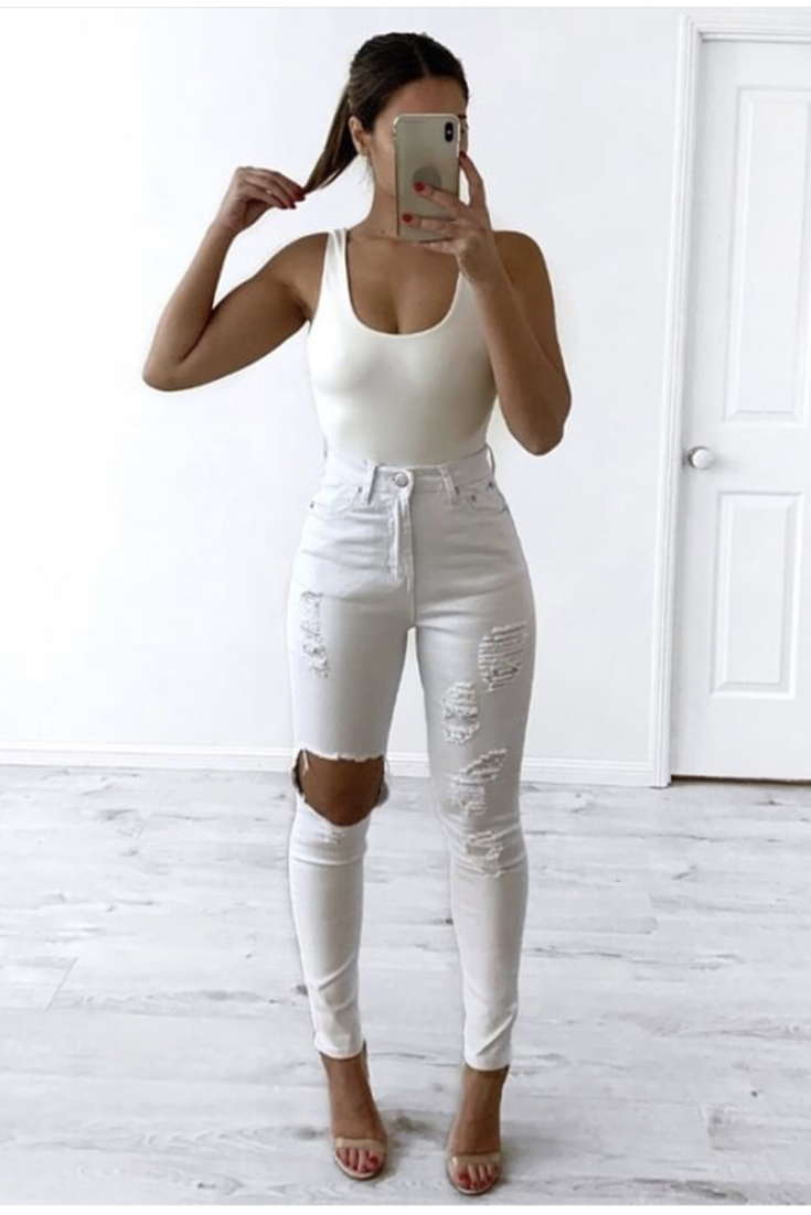 Cleo High Waist Rip Jeans White