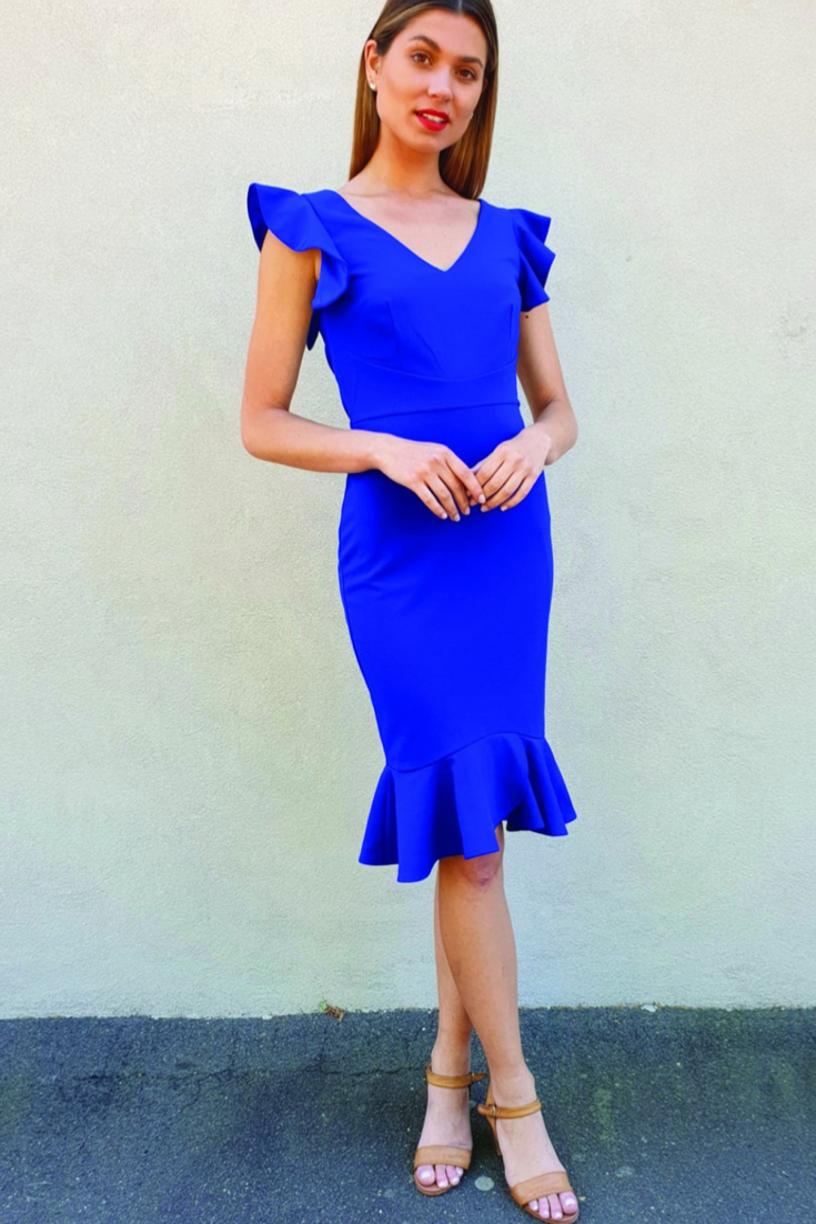 Azure Ruffle Sleeve Midi Dress