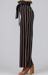 Striped Paper Bag High Waist Pants