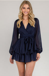 Textured V-Neckline Playsuit with Ruffle