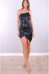 Glamour Shimmer Black Mini Dress