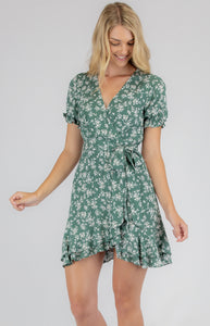 Sage with White Floral Cotton Dress