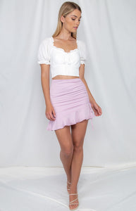 White Shirred Waist Top With Ruche Detail