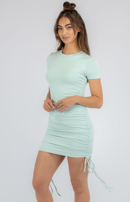 Sage Jersey Dress With Double Drawstring Details