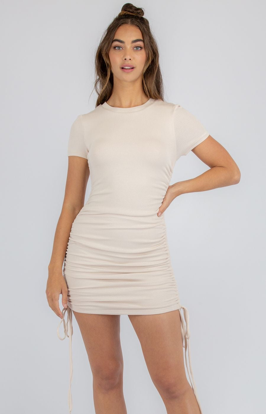 Nude Jersey Dress With Double Drawstring Details