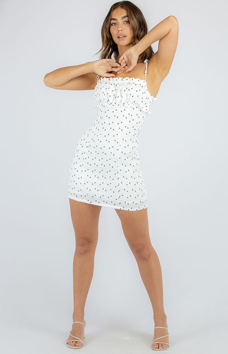 White Printed Mini Dress With Tie Shoulder Detail
