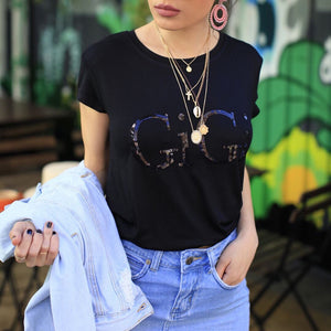 GIGI EMBELLISHED TEE BLACK